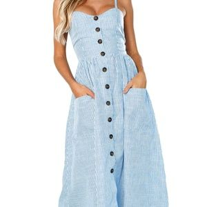 Dresses & Skirts - Blue and White Striped Summer Dress